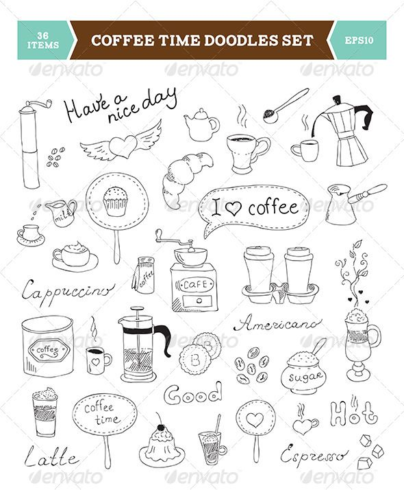Coffee Doodles Vector Elements