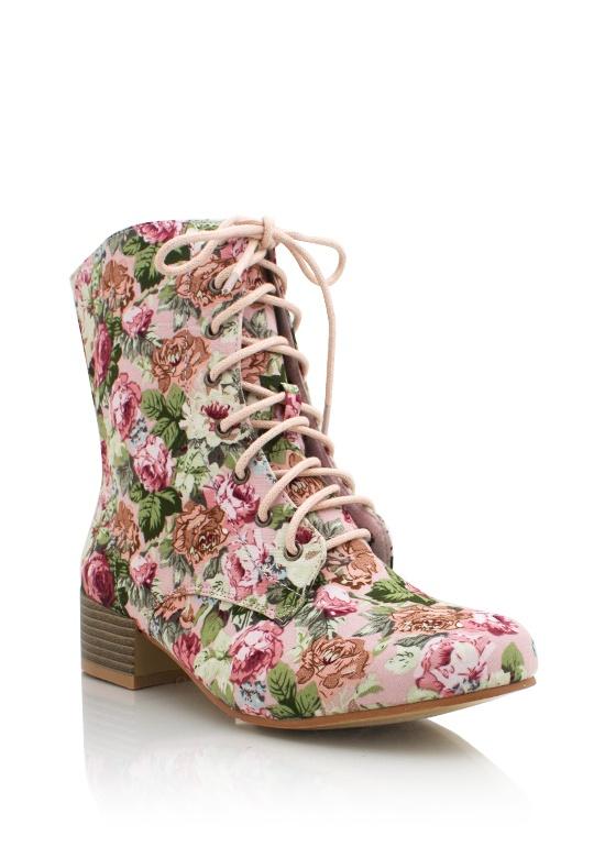 floral combat style boots, antique boho