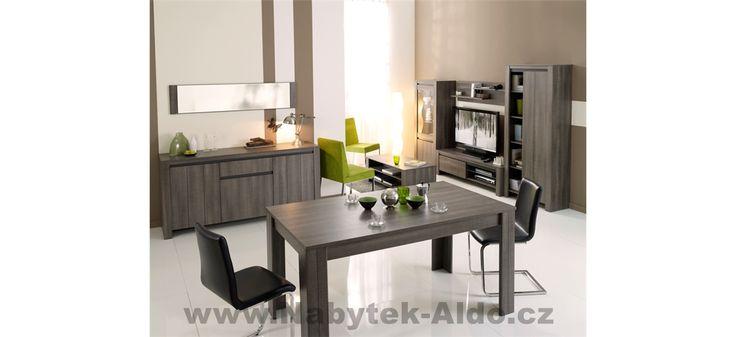 Nábytek do obýváku a jídelny v tmavém provedení