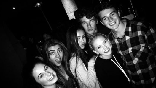 Jordyn Jones with her friends at Hollywood Horror Nights