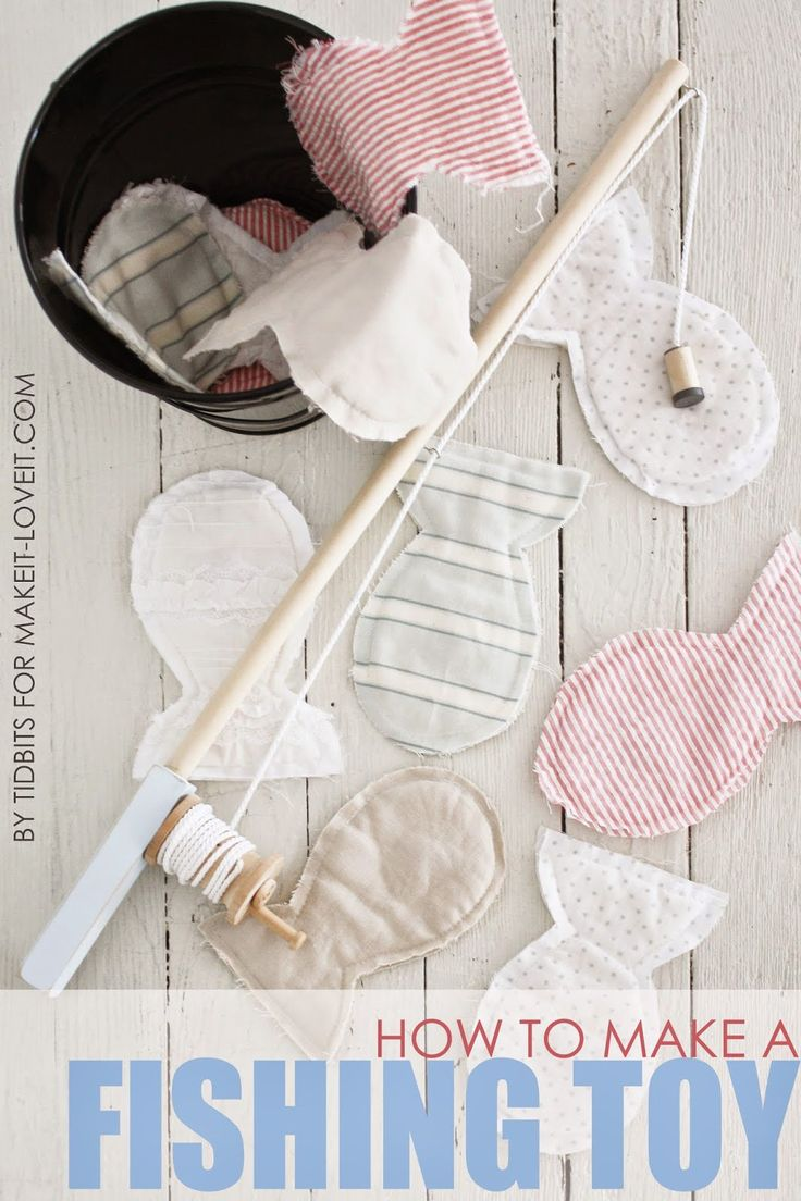 DIY Toy Fishing Pole (that actually reels in) with Magnetic Fabric Fish --- Make It and Love It