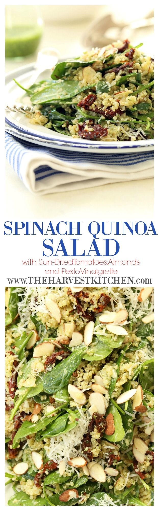 There is so much to love about this Spinach Quinoa Salad (with sun-dried tomatoes and almonds all tossed in a light pesto vinaigrette)! It's loaded with flavor and nutritional perks (protein & iron), and it makes a fabulous and filling lunch or dinner. I've even been known to have it for breakfast! Love!