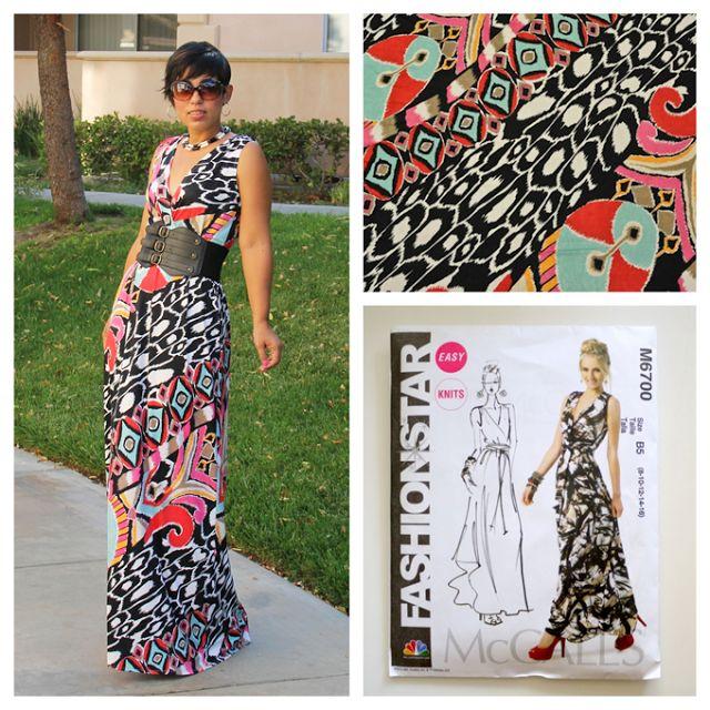 DIY Maxi Dress   Pattern Review M6700   She has a sewing class.  FREE
