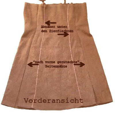Design for a 3-panel apron-dress with darts