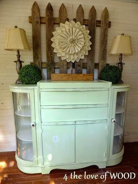 1950 S Curved Glass Cabinet Chartreuse Paint