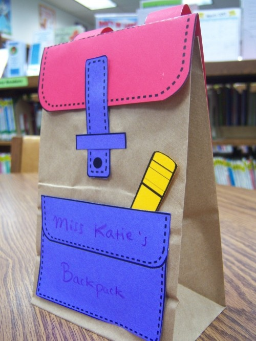 "Back to school backpack/lunch bag craft Great to create for the ""role"" of student"