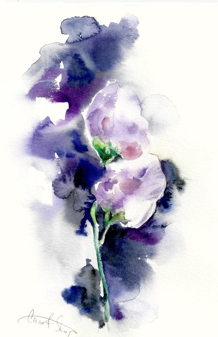 Original watercolor painting purple flowers abstract for How to paint abstract with watercolors