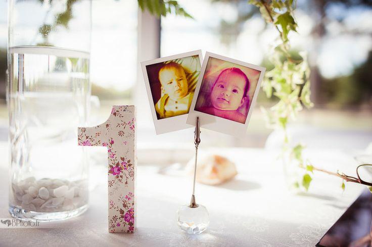 Table numérotées avec photos des mariés à l'âge correspondant
