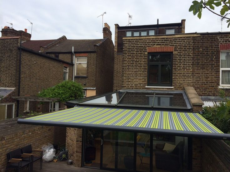 This Markilux 990 full cassette patio awning is finished in Anthracite Grey to match the windows for no additional cost by Deans Blinds & Awnings