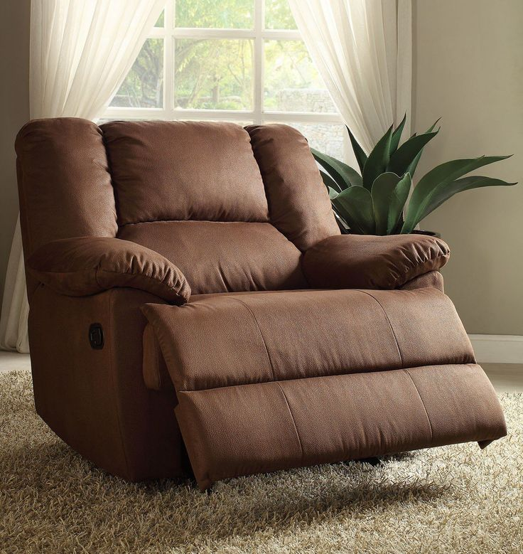 Oliver Dark Brown Leather Glider Recliner Chair 59410