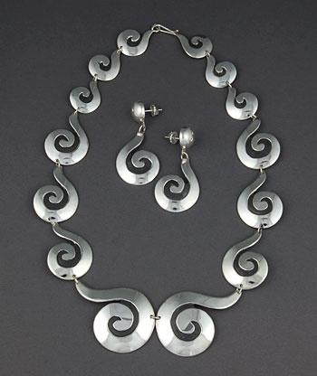 Necklace Earring Set | Debbie Silversmith (Navajo).  Sterling silver