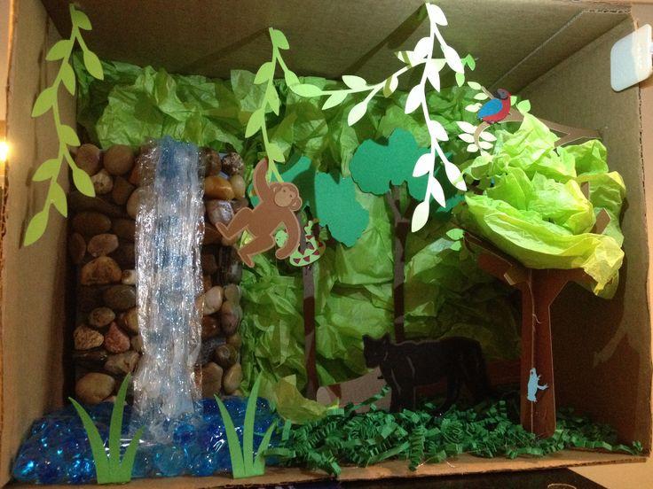 Andrew 39 s rainforest habitat diorama using cricut for trees for Habitat container