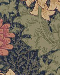 Tapet Chrysanthemum Indigo från William Morris & Co