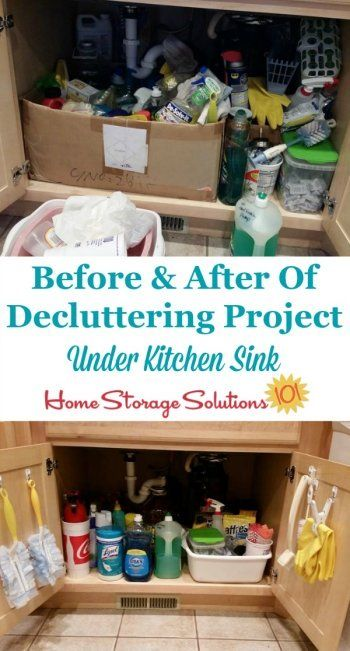 Before and after of decluttering project under the kitchen sink, when a reader, Camisha, did the #Declutter365 mission {featured on Home Storage Solutions 101}