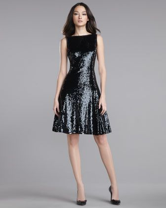 Sequined Swing Dress by St. John Collection at Neiman Marcus.