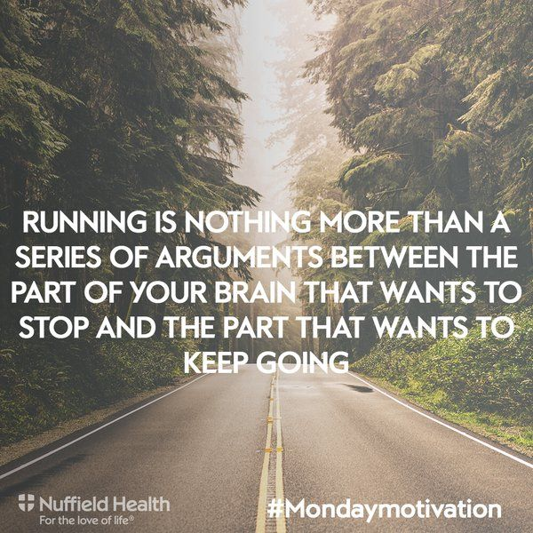 Running is nothing more than a series of arguments between the part of your brain that wants to stop and the part that wants to keep going #quote #inspiration #motivation #running