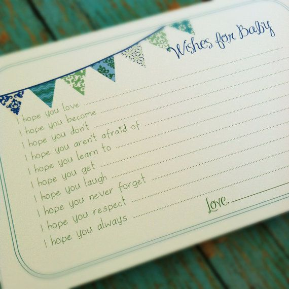 PRINTABLE Wishes for Baby Boy Cards - Unique Baby Shower Activity Game or Memory Book Idea - Blue and Green on Etsy, $10.00