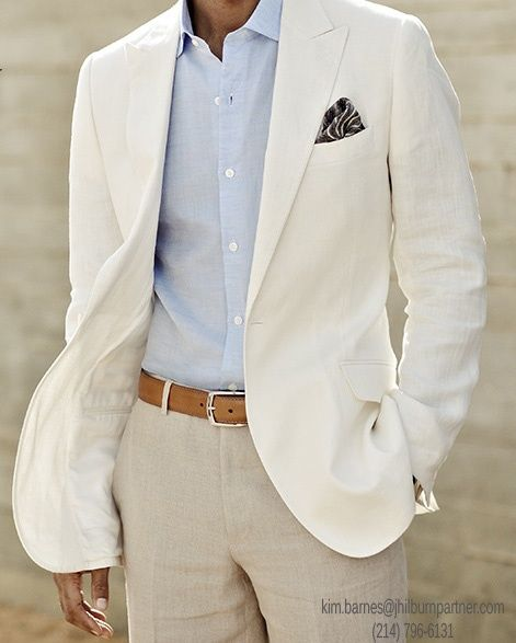 White linen suit - posh men's fashion I love this style !!! Classy!