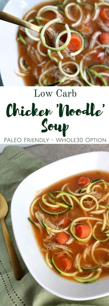 Low Carb Chicken 'Noodle' Soup will fill you up + keep you warm all winter long! This is the perfect healthy, paleo friendly dinner to make tonight!