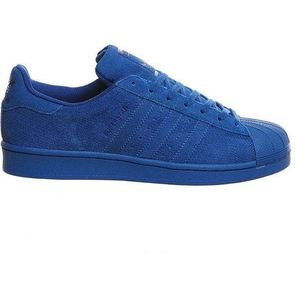 adidas supplied by Office Adidas Superstar 1 Trainers ($45) ❤ liked on Polyvore featuring shoes, sneakers, blue, adidas trainers, striped sneakers, leather shoes, adidas shoes and adidas