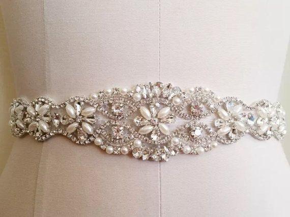 Big Sale Rhinestones and pearls sash, bridal sash, wedding dress sash