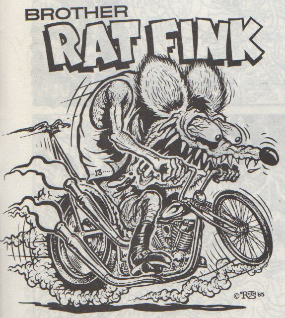 """Brother Rat Fink"" by Ed Newton for the Ed ""Big Daddy"" Roth Studios, 1965. Originally published in Big Daddy Roth's Coloring Book circ 1960s. Scanned from Weirdo Number 11, Last Gasp Eco-Funnies, Fall 1984"