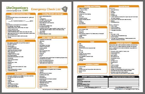 Emergency Disaster Kit Checklist