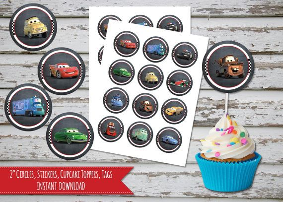 Cars Cupcake Toppers 2 Inch Circles, Stickers, Disney Cars Cupcake Toppers, Tags, Labels INSTANT DOWNLOAD