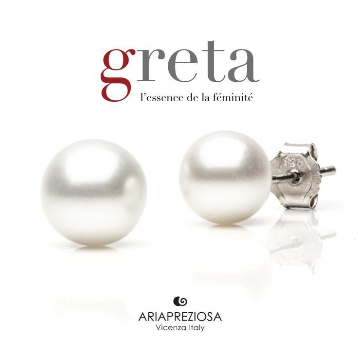 """Greta - Coppia orecchini modello """"Perla"""" in argento 925‰ con Perla naturale (acqua dolce) di 6,5 mm. Chiusura a farfalla"""
