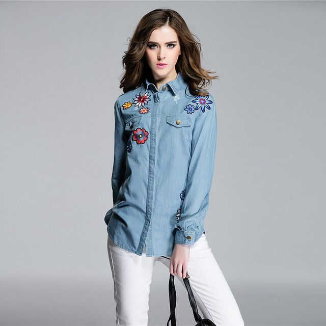 Classic Blouse New 2016 Spring Fashion Full Lantern Sleeve Turn-down Collar Flower Embroidery Slim Brand Cowboy Casual Blouse  US $53.36 /piece Specifics Material	Polyester Clothing Length	Regular Sleeve Style	lantern Sleeve Style	Casual Fabric Type	Broadcloth Sleeve Length	Full Collar	Turn-down Collar Decoration	Button Pattern Type	Solid Brand Name	Elisen Gender	Women Model Number	DK12 Color Style	Light Blue       CLICK LINK TO BUY THE PRODUCT  http://goo.gl/oYWEYs