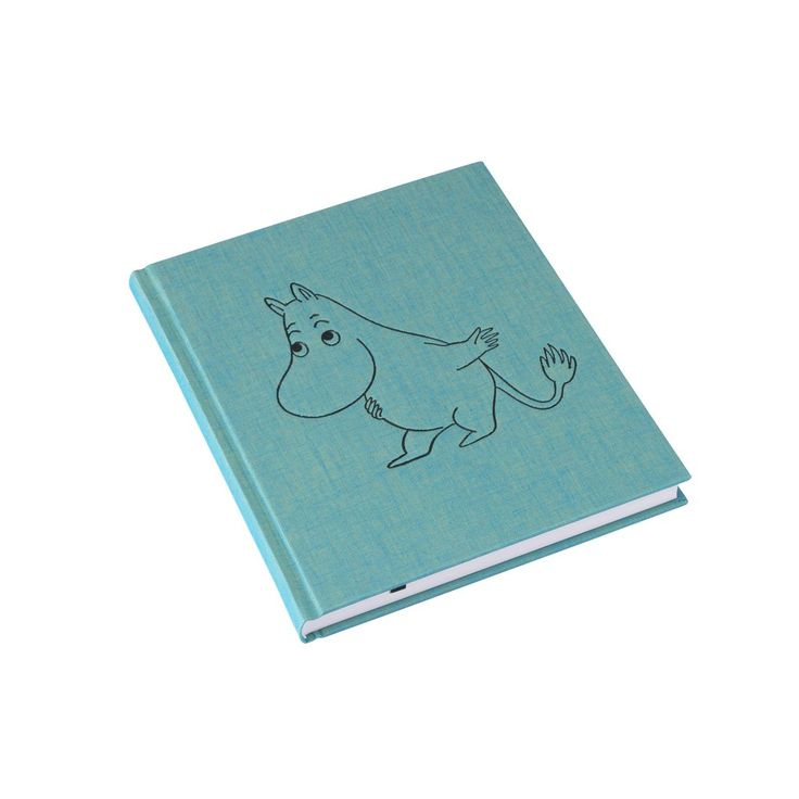 Turquoise Moomintroll notebook in high quality bookbindery cloth. 96 sheets, FSC-certified. Mark ribbon, unlined sheets. Measurements 207 x 175 mm, inlay measurements 200 x 170 mm.