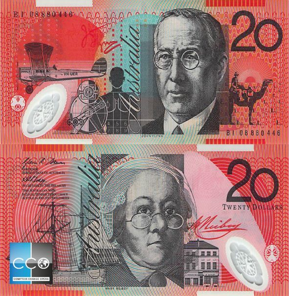 Ce billet de 20 $ est à l'effigie du révérend John Flynn (1880–1951), qui a fondé le premier service de médecins volants au monde (le Royal Flying Doctor Service), et de Mary Reibey (1777–1855), une détenue déportée en Australie en 1792 qui est devenue une grande philanthrope et femme d'affaires dans le transport maritime.