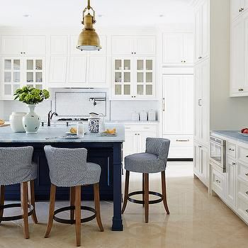 Navy Kitchen Island - Design, decor, photos, pictures, ideas, inspiration, paint colors and remodel