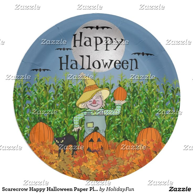 Scarecrow Happy Halloween Paper Plates  sc 1 st  Pinterest & 10 best PAPER PLATES CUSTOM DESIGNS GREAT FOR PARTIES images on ...
