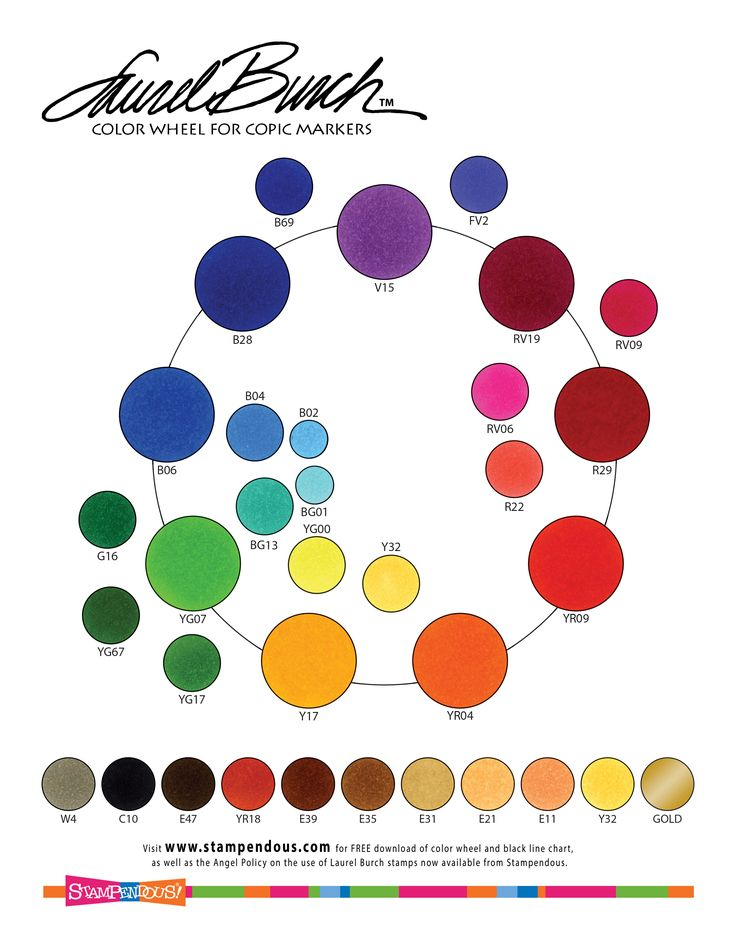 2017  Laurel Burch Copic Coloring Chart Artist Laurel Burch used a magical, brilliant palette of carefully blended colors to achieve her incredibly luminous  artwork.  Download the colored version to match your  non-Copic markers, pencils, paints, etc. to Laurel's preferred colors.