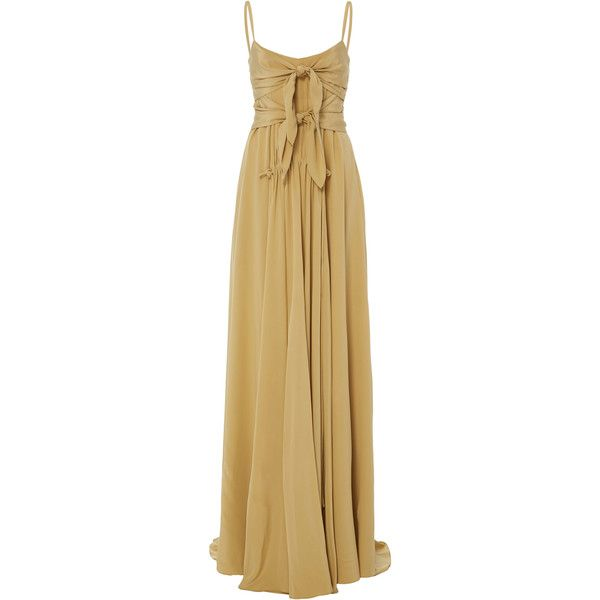 Derek Lam Long Cami Dress ($2,490) ❤ liked on Polyvore featuring dresses, neutral, long camisole dress, long camisole, brown dress, derek lam dress and long maxi dresses