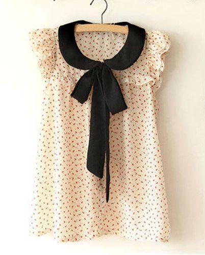 $6.76 Elegant Women's Flat Collar Floral Print Butterfly Sleeve Blouse