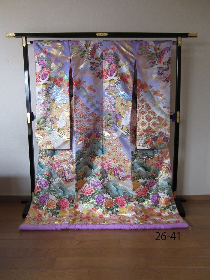 Lavender Uchikake with Peonies, Pines, and Cranes, Full View
