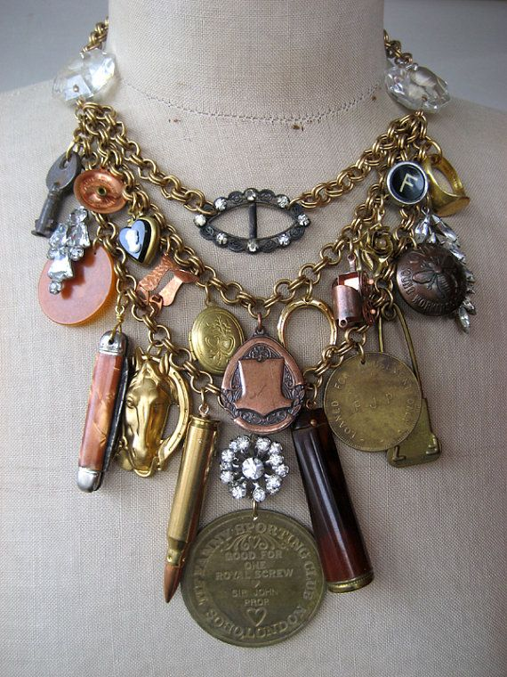 Vintage Necklace, Charm Necklace, Steampunk Necklace by rebecca3030.etsy.com