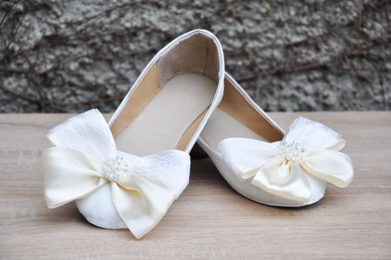 Wedding shoes White glitter lace wedding shoes flat door RagzDagzTM