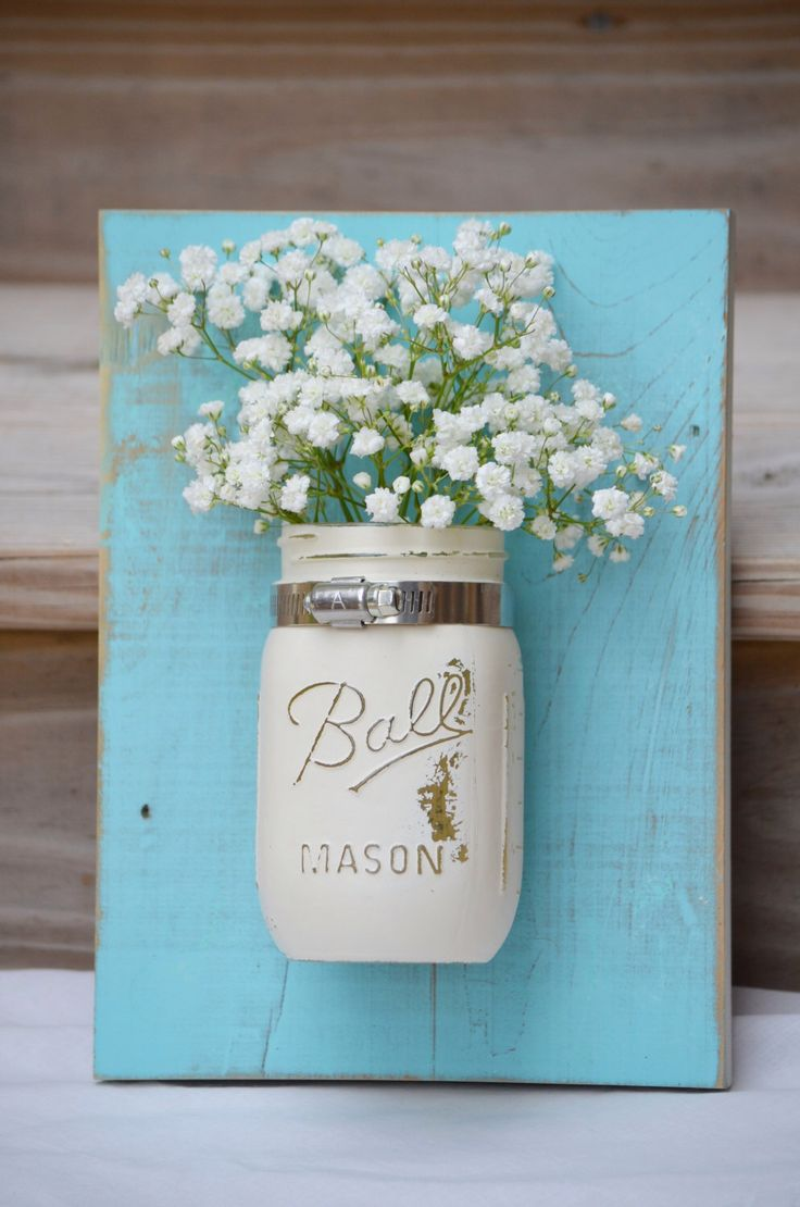 Shabby Chic Wall Organizer Reclaimed Wood Mason Jar Wall Decor Cream Blue Wall Sconce Coastal Cottage Wall Planter Bathroom Storage by JustMasonAround on Etsy https://www.etsy.com/listing/189255692/shabby-chic-wall-organizer-reclaimed