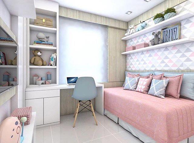 Bom diaaaa ☀️ Projeto lindo para qurto de menina com espaço bem aproveitado  Projeto: Claudiny Cavalcante