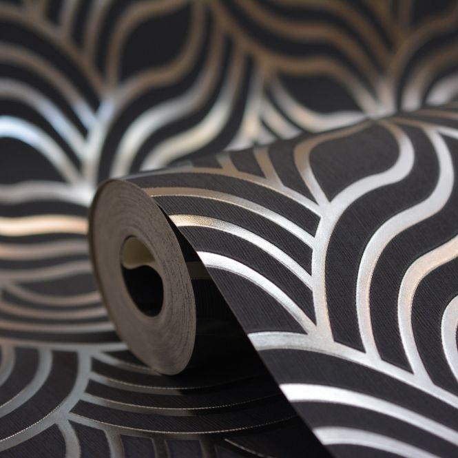 Black and silver art deco wallpaper