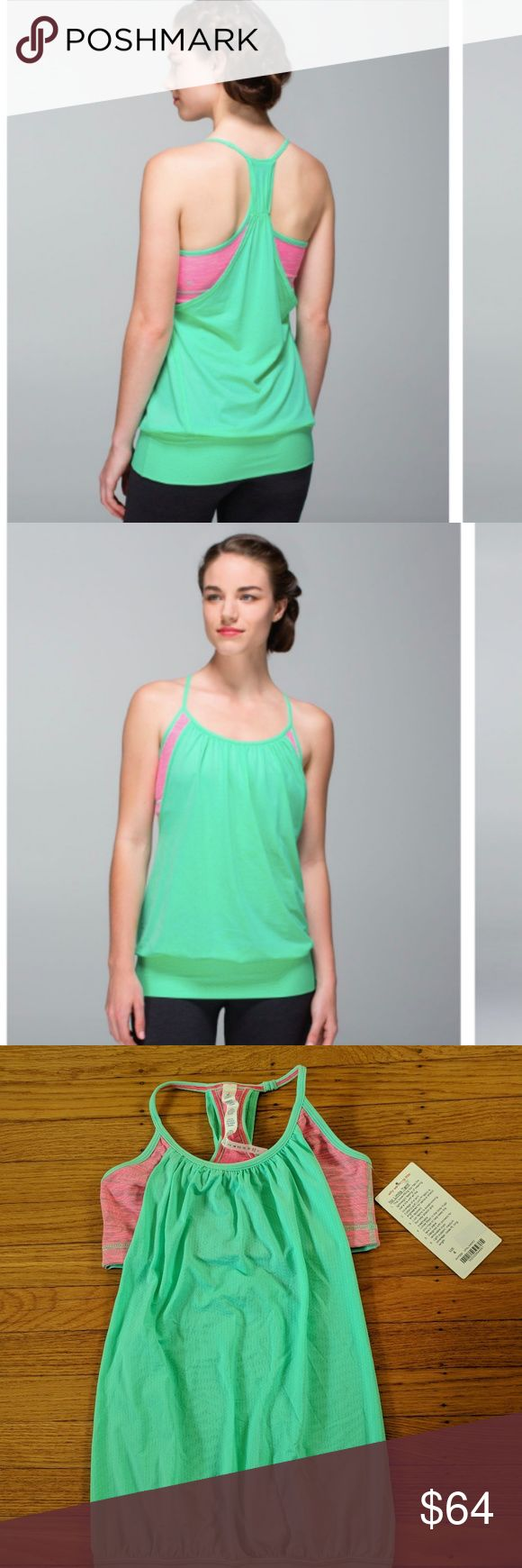 Lululemon No Limits Tank NWT Opal Pink Sz 4 Gorgeous new no limits tank w/ tags attached in opal and we are from space neon pink opal colors. Built in bra (no pads) with flowy body make this tank super flattering and cooling for your yoga or other workouts. Band at the bottom keeps tank from riding up.  These tanks are no longer made so they are RARE! No trades please. Make me an offer! Bundle and save - check out my other Lulu listings (I have two more no limits tanks for sale) :) lululemon…
