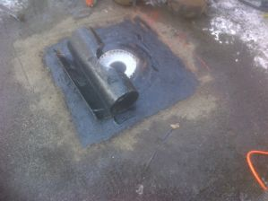Roof drain installation process with SBS 2 Ply Modified Bitumen Torch-On