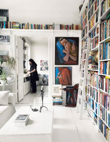 floor to ceiling, corner to corner bookcase.