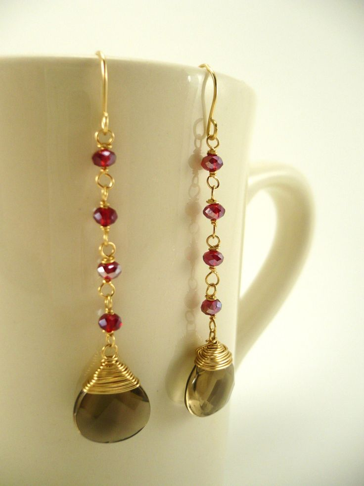 Rosary Style earrings, Drop Earrings, handmade, gifts for her, 14k gold filled, dangle earrings. $45.00, via Etsy.