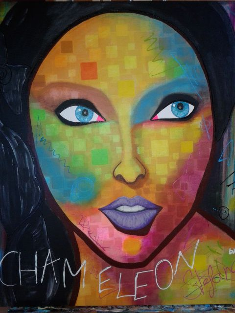 Chameleon by:STEFANO acrylic on canvas fashion art Linda Evangelista