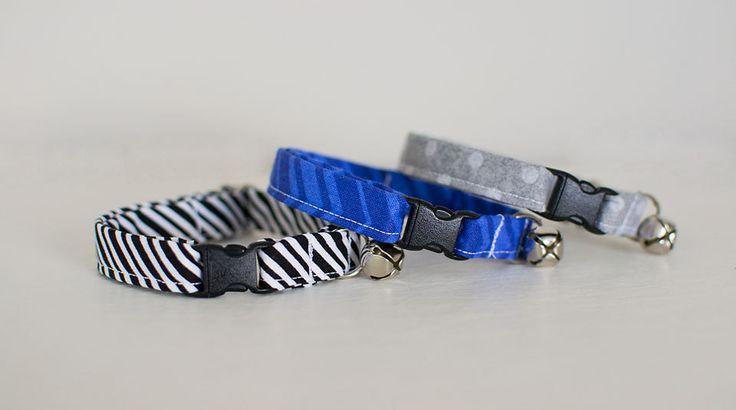 Cat Collars-Male Cat Collars-Boy Cat Collars-Breakaway Cat Collars-Fabric Cat Collars-Designer Cat Collars-Blue Cat Collar-Stripe Cat Collar by SLWdesignsCo on Etsy