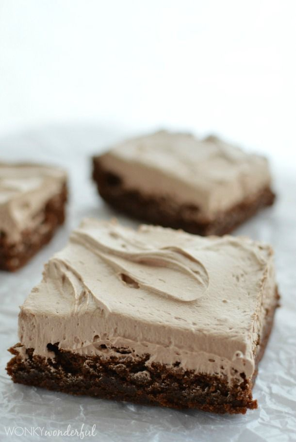 The Best Brownie Recipe Ever!  Perfect Chocolate Brownies - Fudgy & Cakey . Topped with Nutella Frosting! wonkywonderful.com